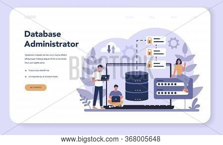 Data Base Administrator Web Banner Or Landing Page. Female