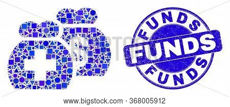Geometric Medical Funds Mosaic Icon And Funds Seal Stamp. Blue Vector Round Scratched Seal With Fund