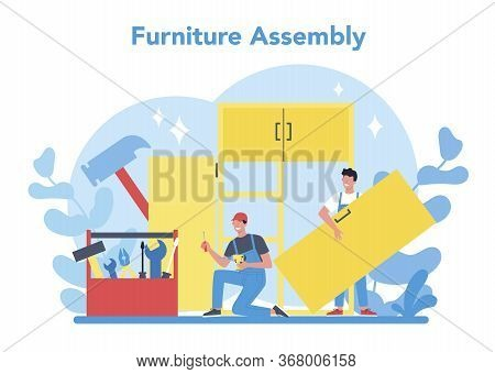 Wood Furniture Assembly. Professional Worker Assemblying Closet.