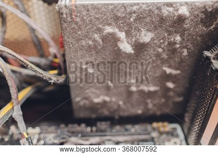 Dirty Computer Case.dust Layer On The System Unit.time To Clean Your Computer From Home Dust.dust Is