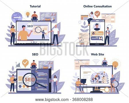 Seo Online Service Or Platform Set. Idea Of Search Engine Optimization