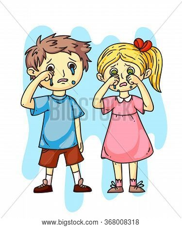 Girl Boy Kids Crying After Quarrel Flat Cartoon. Sad, Offended Children. Brother And Sister Relation