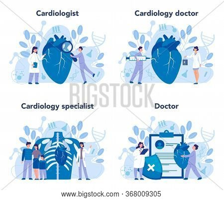 Cardiology Set. Cardiologist Deal With The Disorder Of The Heart.