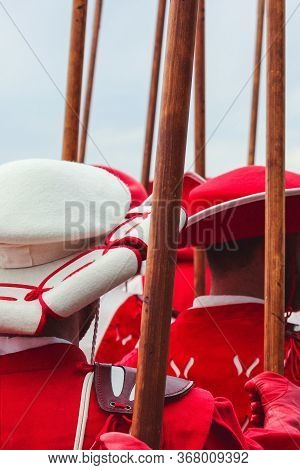 Traditional Parade On Swiss National Day In Vevey. National Holiday Of Switzerland, Set On 1st Augus