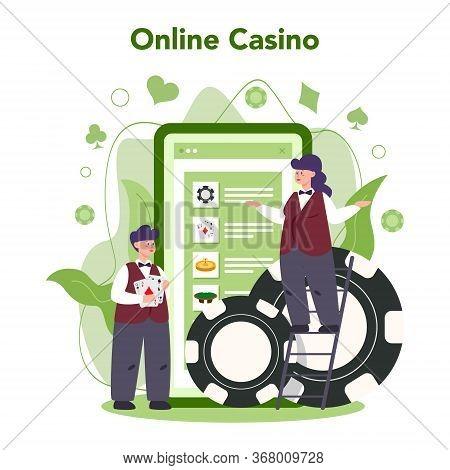 Croupier Concept. Dealer In Casino Near Roulette Table. Person