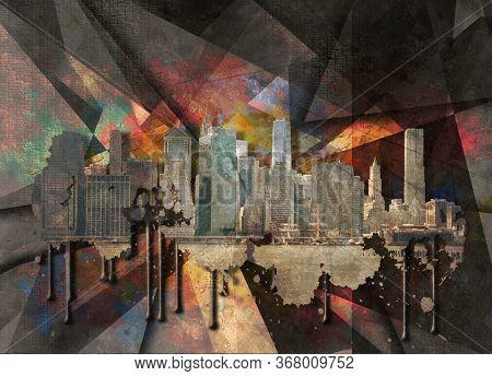 NYC Landscape. Manhattan view. Modern art. 3D rendering
