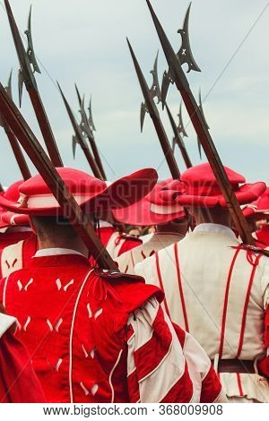 Traditional Parade On Swiss National Day. National Holiday Of Switzerland, Set On 1st August. Celebr