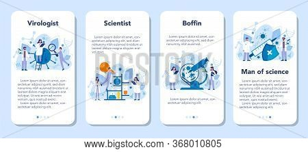 Virologist Mobile Application Banner Set. Scientist Studies Viruses