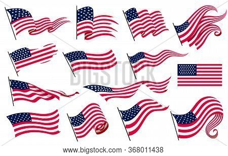 Collection Waving Flags Of The United States Of America. Illustration Of Wavy American Flags. Nation