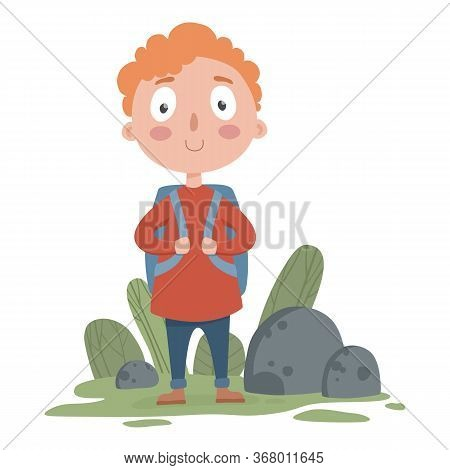 Young Travel Boy With Backpack Icon. Cartoon Of Young Travel Boy With Backpack Vector Icon For Web D