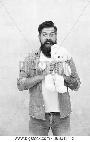 Happy Valentines Day Present. Gift For Your Beloved. Bearded Male Casual Style. Man With Beard On Su