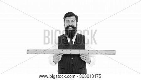 Maths Teacher Taking Measurement. This Is Too Big. Happy Man Measure The Length. Bearded Man With Ru