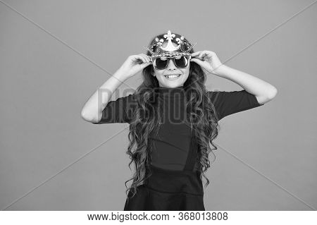 Kid Wear Sunglasses And Crown. Event And Entertainment. Luxurious Celebration. Party Celebration. Ce