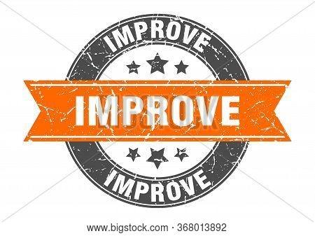 Improve Round Stamp With Orange Ribbon. Improve