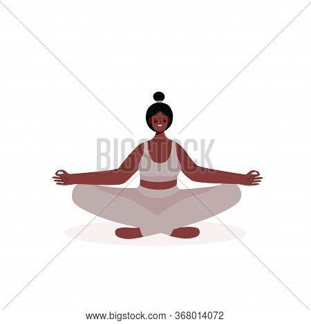 Woman Meditating In Yoga Lotus Pose . Concept Illustration For Yoga, Meditation, Relax, Recreation,