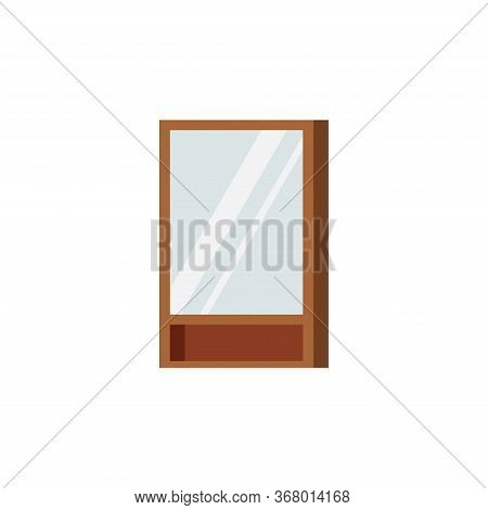 Wooden Frame Rectangular Mirror With Shelf And Locker For Country Slyle Bathroom Isolated On White B