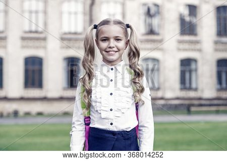 Be Smart. Happy Girl Outdoors. Child Girl Back To School. Little Girl Wear School Uniform. Primary S