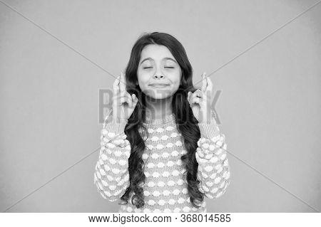 Full Of Hope. Child Dream. Hopeful Concept. Small Child With Long Hair. Hope For Best. Little Child