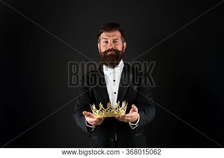 For You. Reward For Business Success. Top Manager. King Of Style. Bearded Man Wear Golden Crown. Ele