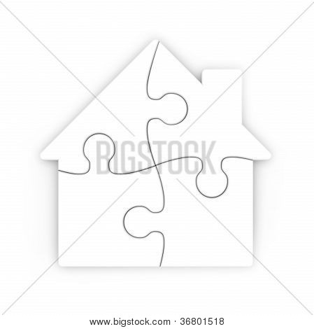 Isolated Puzzle Of A House With Clipping Path