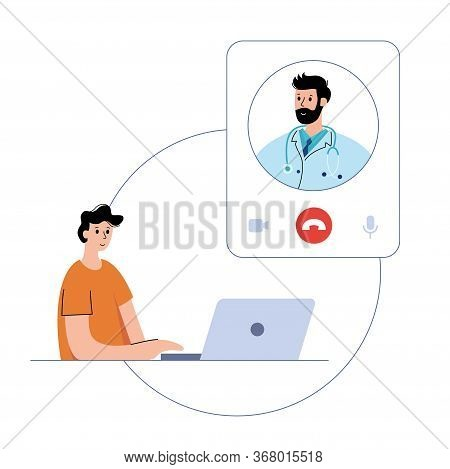 Doctor Consults A Happy Man By Videocall Via Laptop By Internet. Flat Vector Illustration. Medical P
