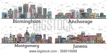 Outline Birmingham and Montgomery Alabama, Juneau and Anchorage Alaska City Skyline with Color Buildings Isolated on White. USA Cityscapes with Landmarks.