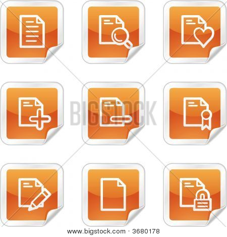 Documents  Web Icons, Orange Glossy Sticker Series