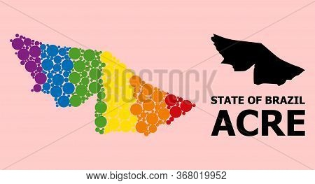 Rainbow Vibrant Pattern Vector Map Of Acre State For Lgbt, And Black Version. Geographic Concept Map