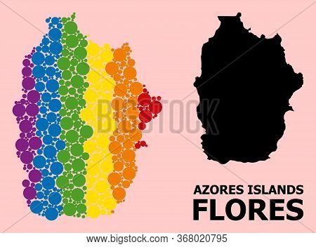 Spectrum Vibrant Mosaic Vector Map Of Azores - Flores Island For Lgbt, And Black Version. Geographic