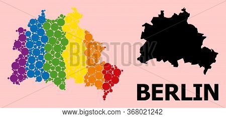 Spectrum Vibrant Collage Vector Map Of Berlin City For Lgbt, And Black Version. Geographic Collage M