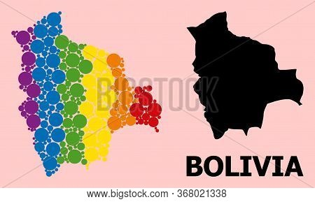 Rainbow Vibrant Collage Vector Map Of Bolivia For Lgbt, And Black Version. Geographic Concept Map Of