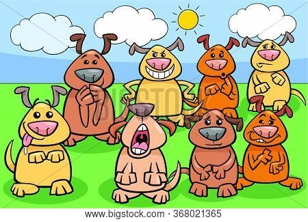 Cartoon Illustration Of Funny Dogs Animal Characters Group