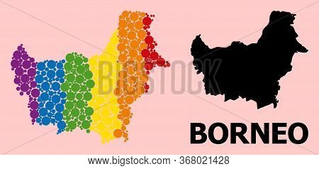 Spectrum Vibrant Mosaic Vector Map Of Borneo Island For Lgbt, And Black Version. Geographic Mosaic M