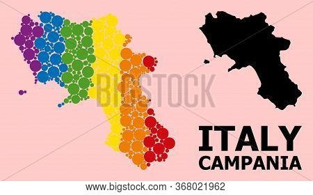 Rainbow Colored Mosaic Vector Map Of Campania Region For Lgbt, And Black Version. Geographic Concept