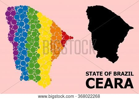 Spectrum Vibrant Mosaic Vector Map Of Ceara State For Lgbt, And Black Version. Geographic Mosaic Map