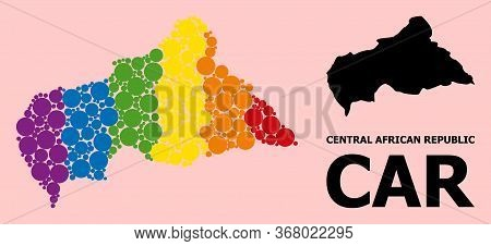 Rainbow Vibrant Collage Vector Map Of Central African Republic For Lgbt, And Black Version. Geograph