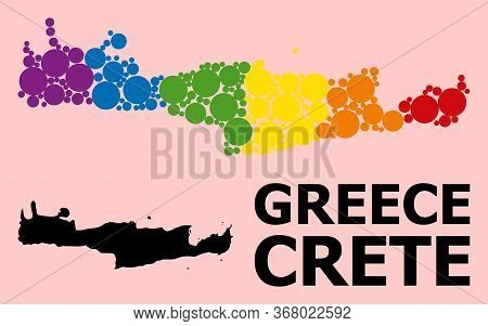 Spectrum Colored Mosaic Vector Map Of Crete Island For Lgbt, And Black Version. Geographic Mosaic Ma