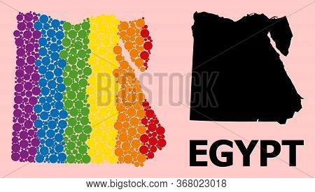 Rainbow Colored Collage Vector Map Of Egypt For Lgbt, And Black Version. Geographic Collage Map Of E
