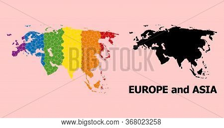 Rainbow Vibrant Collage Vector Map Of Europe And Asia For Lgbt, And Black Version. Geographic Collag