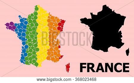 Rainbow Colored Collage Vector Map Of France For Lgbt, And Black Version. Geographic Collage Map Of
