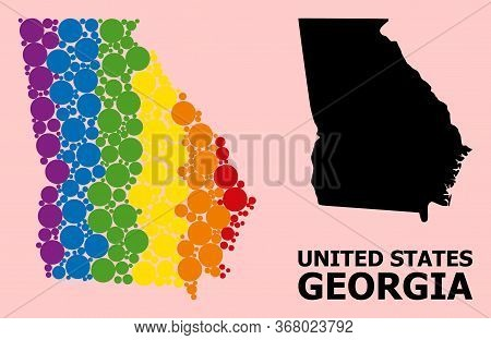 Rainbow Vibrant Collage Vector Map Of Georgia State For Lgbt, And Black Version. Geographic Collage