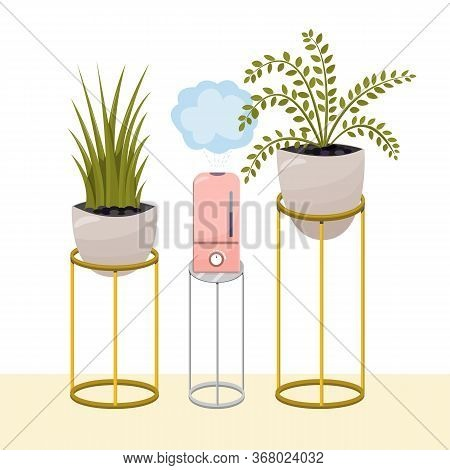 Humidifier And Plants On A Stand. Equipment For Home Or Office. Air Purifier In The Interior Vector