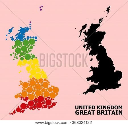 Spectrum Vibrant Collage Vector Map Of Great Britain For Lgbt, And Black Version. Geographic Collage