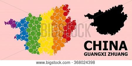 Spectrum Vibrant Collage Vector Map Of Guangxi Zhuang Region For Lgbt, And Black Version. Geographic