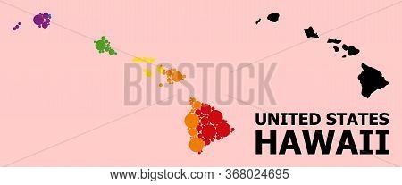 Rainbow Vibrant Collage Vector Map Of Hawaii State For Lgbt, And Black Version. Geographic Collage M