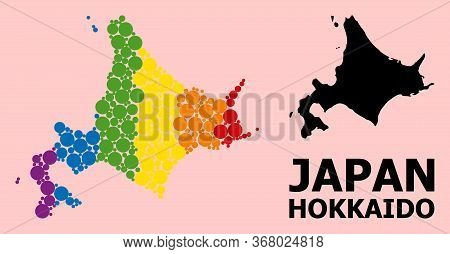 Rainbow Vibrant Collage Vector Map Of Hokkaido Island For Lgbt, And Black Version. Geographic Collag