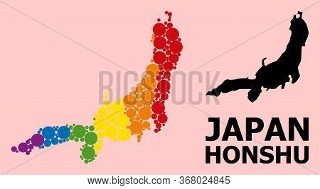 Spectrum Colored Collage Vector Map Of Honshu Island For Lgbt, And Black Version. Geographic Concept