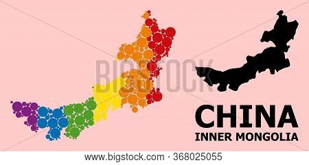 Spectrum Vibrant Mosaic Vector Map Of Inner Mongolia For Lgbt, And Black Version. Geographic Concept