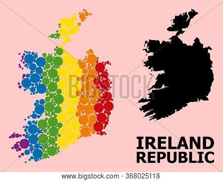 Spectrum Vibrant Pattern Vector Map Of Ireland Republic For Lgbt, And Black Version. Geographic Conc