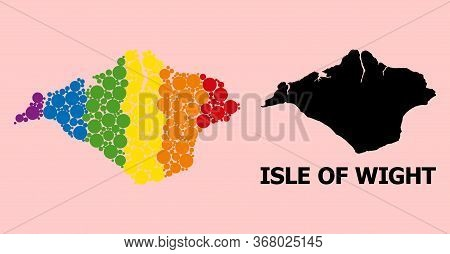 Rainbow Vibrant Collage Vector Map Of Isle Of Wight For Lgbt, And Black Version. Geographic Collage